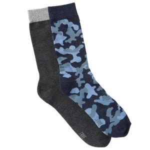 Frye Heathered Blue Camo Charcoal Crew Socks NWT